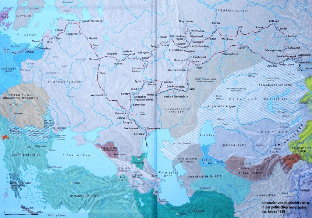 Alexander von Humboldts Reise in der politischen Geographie des Jahres 1829